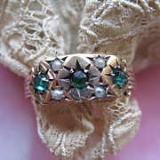 Victorian 10K Paste Seed Pearl Wedding Band
