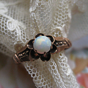 Antique 10K Opal Ring, Buttercup Setting, Marriage Ring, Victorian Ring, Antique Opal