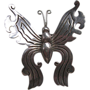 Masterful Mexican Sterling Butterfly Brooch  WS hallmark
