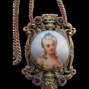Antique  Porcelain Portrait Necklace