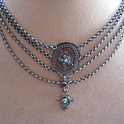 SALE Antique Silver Austro Hungarian Necklace