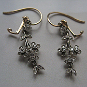 Antique Rose Cut Diamond Silver and 10 K Gold Pierced Earrings