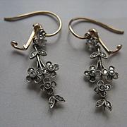 SALE Antique Rose Cut Diamond Silver and 10 K Gold Pierced Earrings    On Sale