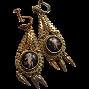 Antique Enameled Drop Earrings In Gold Fill, Cherubs