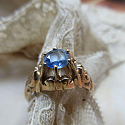 SALE Victorian 10K Ceylon Sapphire Engagement Ring