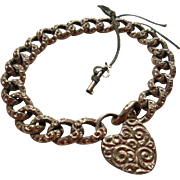 Victorian Curbed Link Heart Padlock Charm Bracelet