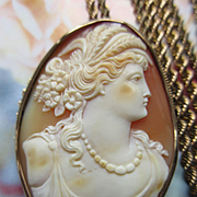 Carved Shell Cameo 10K Pendant on Gold Fill Chain