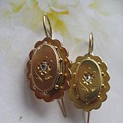 SALE Victorian 10K Rose Cut Diamond Pierced Earrings, Victorian Earrings