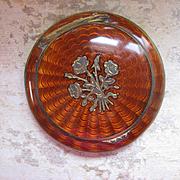 Deco Enameled Compact, Original Puff, Unusual Color