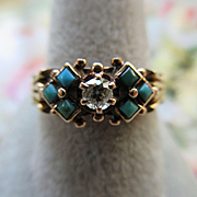 SALE Victorian 14K Diamond Turquoise Ring , Mens Ring, Wedding Band