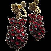 Antique Bohemian Garnet Screw Back Earrings