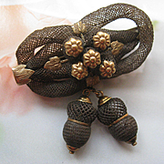 SALE Victorian Lovers Knot Hair Brooch, Acorns and Flowers