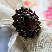 Bohemian Garnet 10KT Ring, January Birthstone Ring, Fine Estate Jewelry