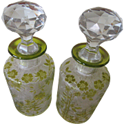 Victorian French St. Louis Glass Acid Etched Perfume Bottles, Pair of Victorian Antique ...