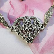 Deco Sterling Marcasite Heart Bracelet