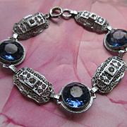Deco Filigree Blue Crystal Bracelet