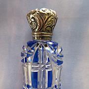 Antique Victorian Blue Overlay Perfume Scent Bottle  TLC