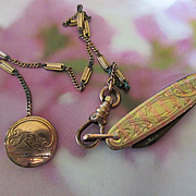 Victorian Watch Chain with Antique Button, Antique Pocket Knife Fob, Rose Gold Fill