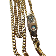 Victorian Ladies Watch Chain, Antique Opal Slide Chain