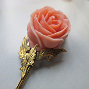 Carved Coral Rose 18K Pendant, Circa 1930 European Coral Jewelry