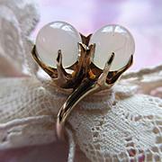 Antique 10K Moonstone Ring, Two Stone Moonstone Ring