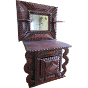 Antique Tramp Art Dolls Dresser