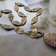 Victorian Bird Locket Necklace, Antique Leaf Chain