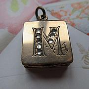 Victorian Locket Fob, Initial M Antique Locket