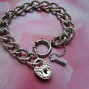 Sterling Curbed Link Charm Bracelet, Sterling Heart Padlock