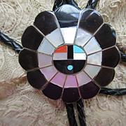Vintage Zuni Sun Face Sterling Bolo Tie