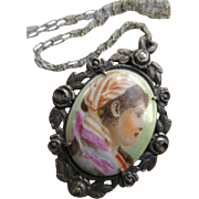 Deco 1930s Sterling Portrait Necklace, Marcasite Floral Frame