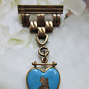 Antique Enameled Blue Heart Watch Pin, Gold Fill Squirrel