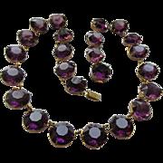 Deco Open Back Crystal Necklace, Amethyst Crystal Necklace