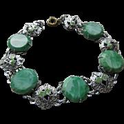 Deco Peking Glass Enameled Bracelet, 1930s Estate Jewelry