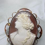 Victorian 9C English Cameo Brooch,  Antique Shell Cameo in Original Box