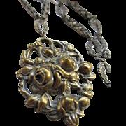 Vintage 1930s Repousse Roses Necklace