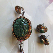 Carved Malachite, Amethyst, 800 Silver Gilt Pendant and Pierced Earrings, Vintage 1940s Set