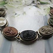 Antique 800 Silver Lava Cameo Bracelet, Seven Days Of The Week Cameo Bracelet