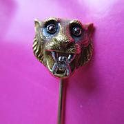 Victorian 14K Platinum Diamond Ruby Lion Stick Pin