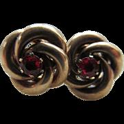 Antique 10K Ruby Doublet Lovers Knot Pierced Earrings
