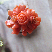 Victorian Carved Coral Floral Pin