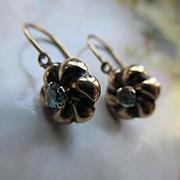 Victorian 10K Blue Zircon Pierced Earrings