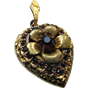 Older Vintage Floral Paste Heart Locket in Gold Fill