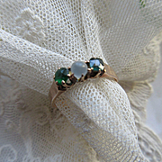 Antique Moonstone and Green Stone 10K Ring