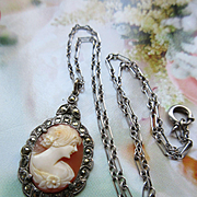 Vintage 1930s Deco Cameo Necklace Sterling with Marcasites