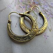 Antique 10K Chased Hoop Earrings