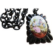 Vintage 1930s Bakelite and Porcelain Pendant on Celluloid Chain