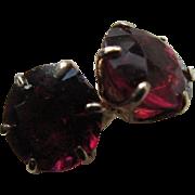 Antique Ruby Doublet 10K Pierced Earrings