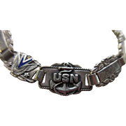Coro WWII Sterling Sweet Heart Bracelet US Navy