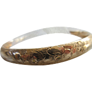 Victorian Bangle Bracelet Floral and Foliate Design in Gold Fill